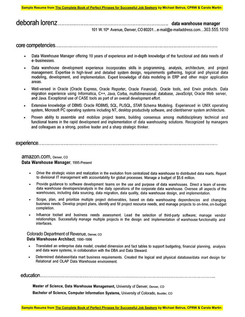 Data warehouse project manager resume