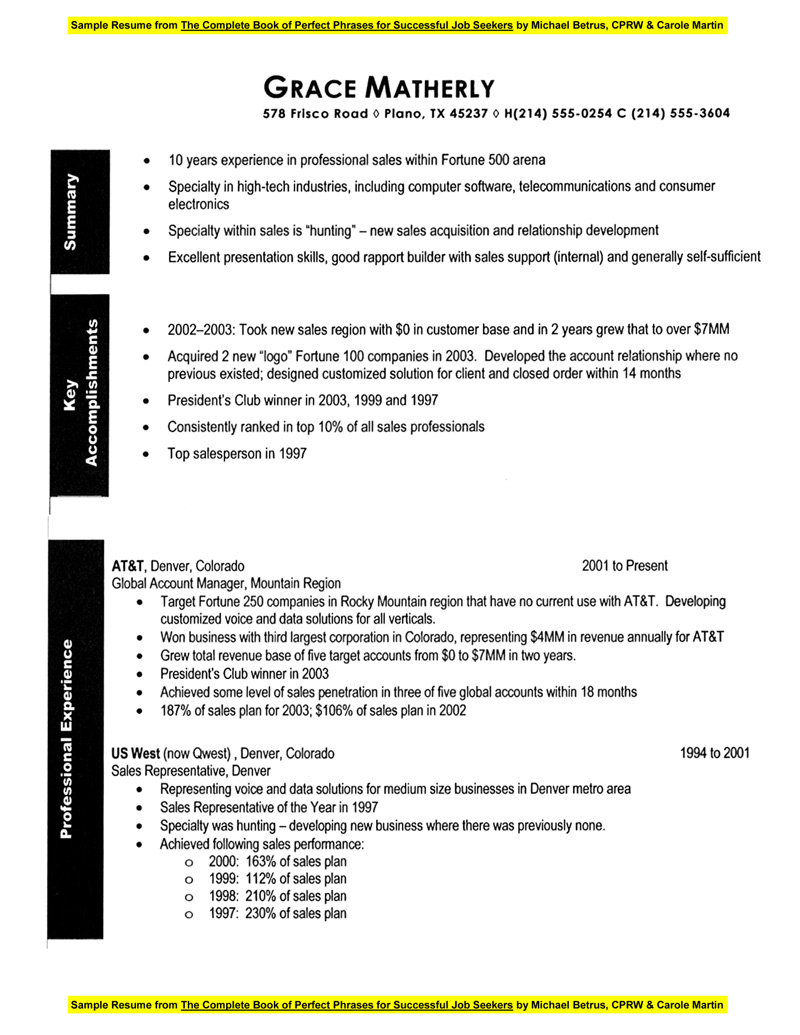 sample resume sales account manager
